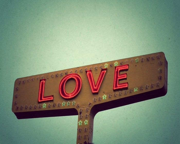 Romantic gift wedding anniversary romantic photograph red whimsical I love you vintage sign Texas Photo Print - 5x7 Love Signs. $15.00, via Etsy.
