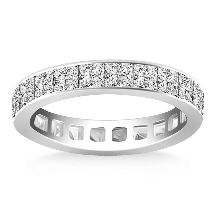 awesome 14K White Gold Eternity Ring with Channel Set Princess Cut Diamonds