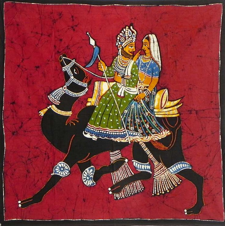 King and Queen on a Camel Ride (Batik Painting on Cotton Cloth - Unframed))