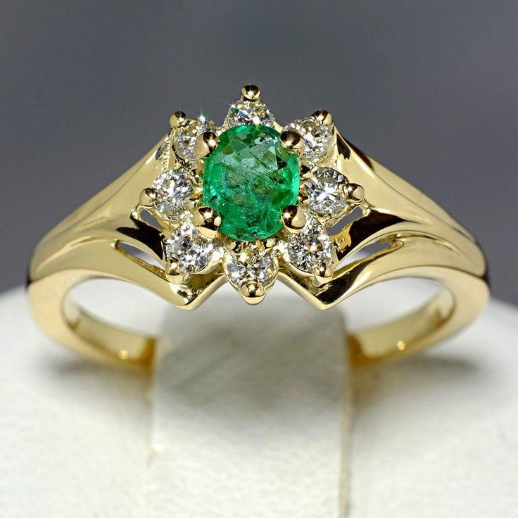 Inel aniversar din aur, cu smarald si diamante II Cod produs: 006SmDi