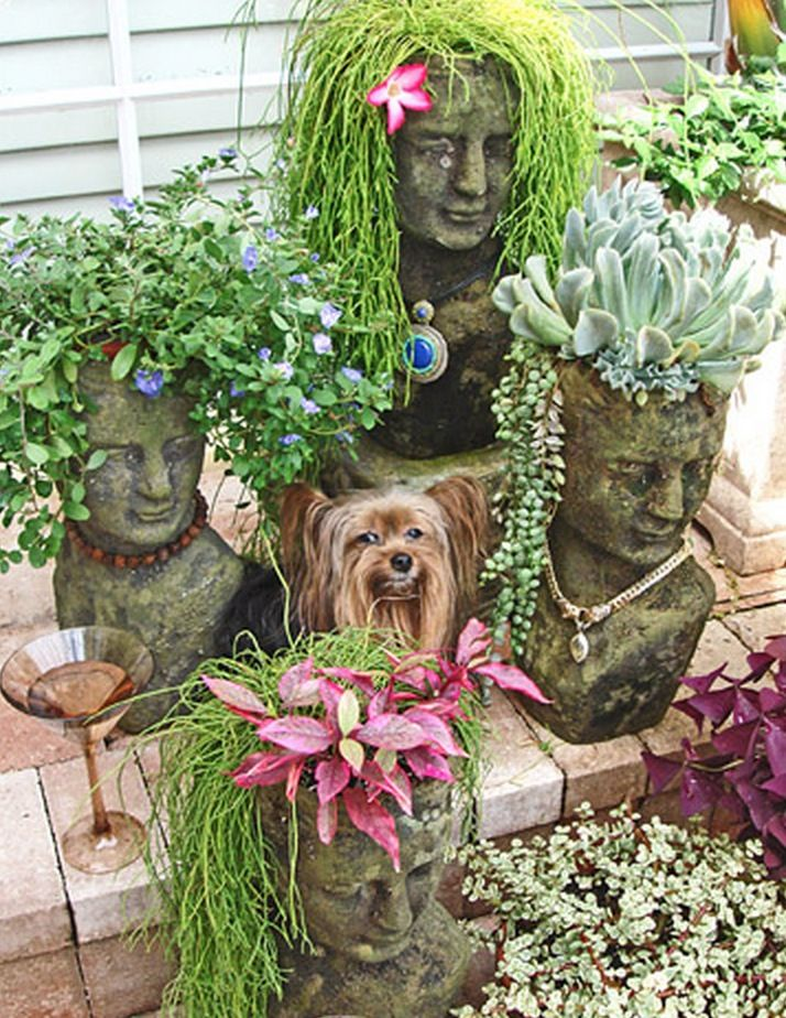How to make concrete head planters all the best ideas for Garden decking ornaments