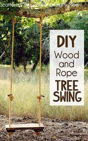 diy rustic wood and rope tree swing, diy, outdoor living