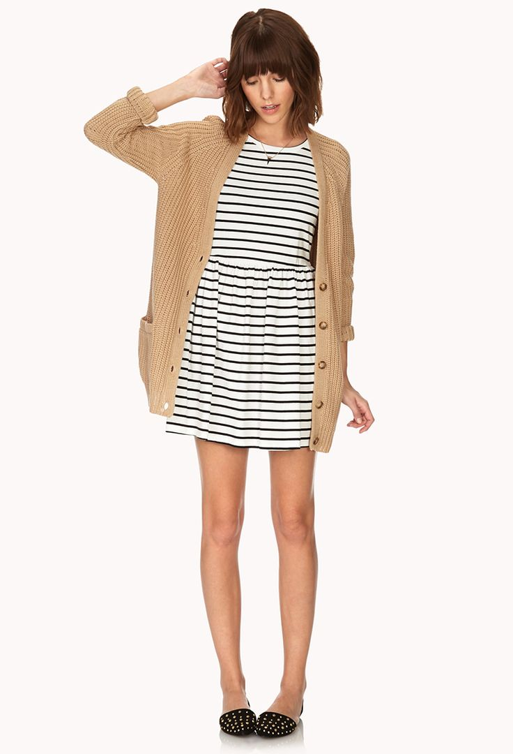 Ribbed Boyfriend Cardigan + striped dress + studded flats + delicate necklace + messy hair