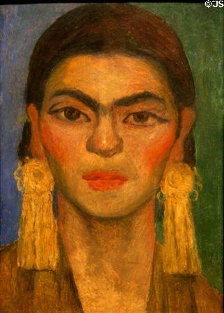 Diego Rivera - Portrait of Frida Kahlo - c.1939 - Oil on asbestos cement shingle -Location:Los Angeles County Museum of Art, Los Angeles, California.