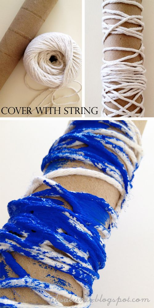 Wrapping string, twine, yarn or just about any fiber is another great way to roll texture onto your surface.