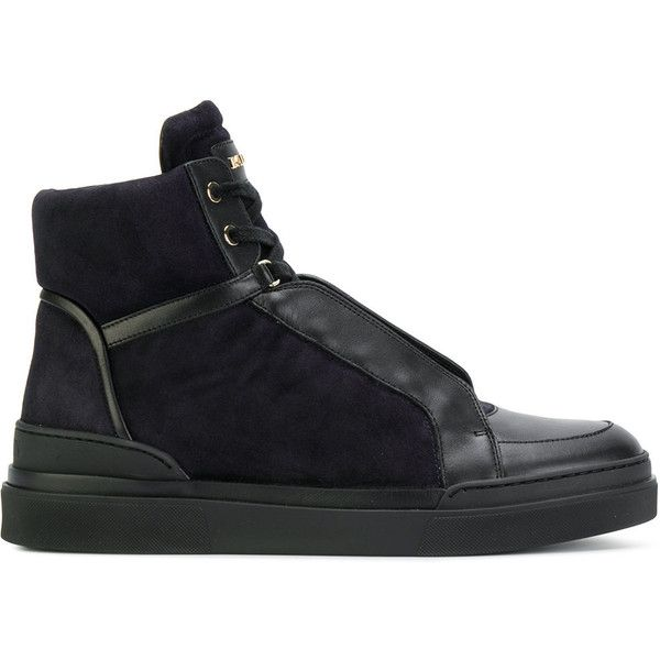 Balmain lace-up hi-tops ($432) ❤ liked on Polyvore featuring men's fashion, men's shoes, men's sneakers, black, mens studded sneakers, mens black leather sneakers, balmain mens sneakers, mens black hi top sneakers and mens high top sneakers