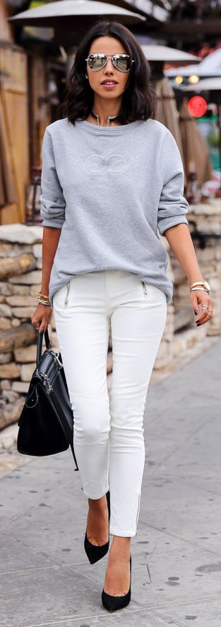 White Street Chic Zip Skinnies with Grey Sweater and Black Pumps or Handbag | VivaLuxury Fashions Blog