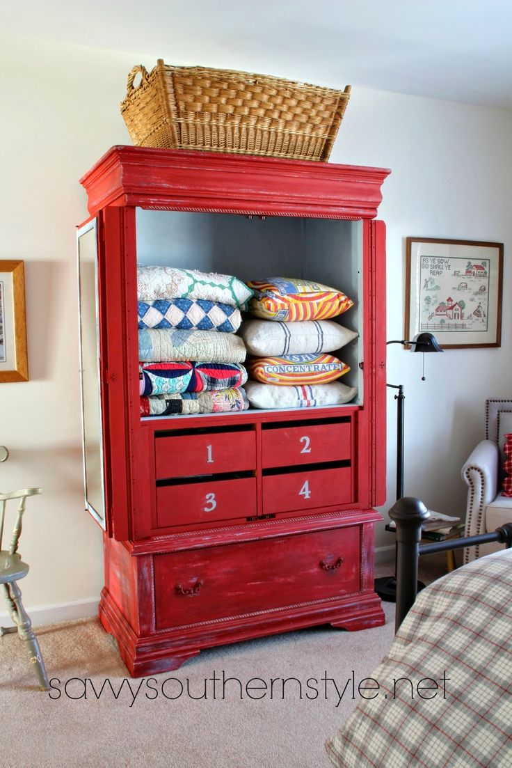 Savvy Southern Style: Storage for My Vintage Quilts and Pillows bHome.us #bHome.us