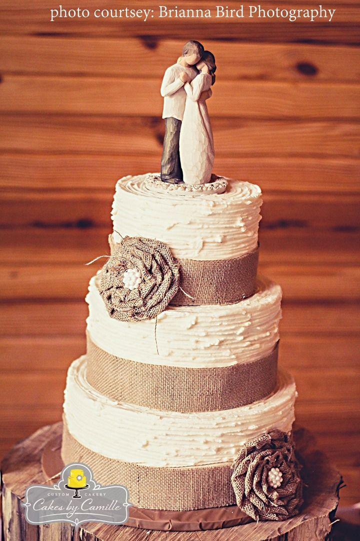 Burlap wedding cake, handmade burlap ruffle flower with pearl center, on textured buttercream cake, willow tree angel topper
