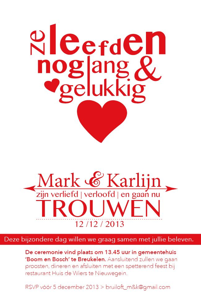 Wedding inventation! Red letterpress wedding card, designed and printed by www.loveletterpress.nl