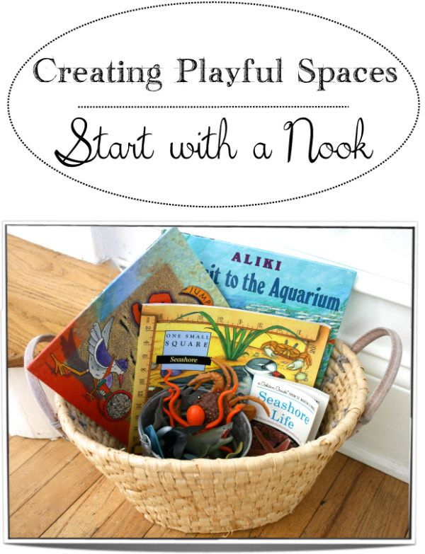 Start by finding a little nook or corner in your home where you can leave out a theme-based basket of materials for your child to discover.