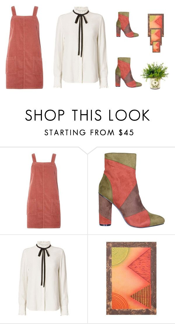 """""""Tie Ruffle Blouse/Cord pinafore dress"""" by whatsupsteph ❤ liked on Polyvore featuring Dorothy Perkins and Frame Denim"""
