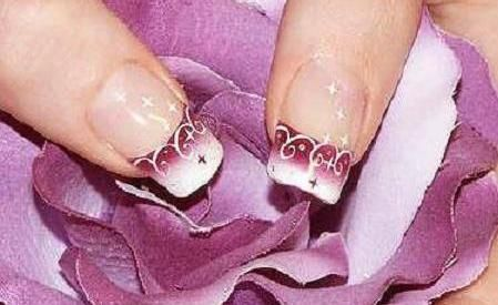 uñas decoradas paso a paso: Bridal Nails, French Manicures, Nails Design, Wedding Nails, Flower Nails, Pretty Nails, Purple Nails, Nails Ideas, Nails Art Design