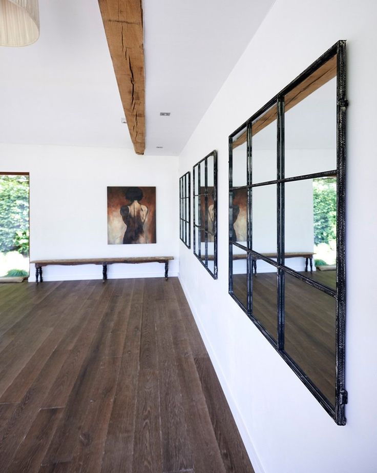 mirrordeco.com — Large Window Frame Mirror - Distressed Black Frame W:118cm
