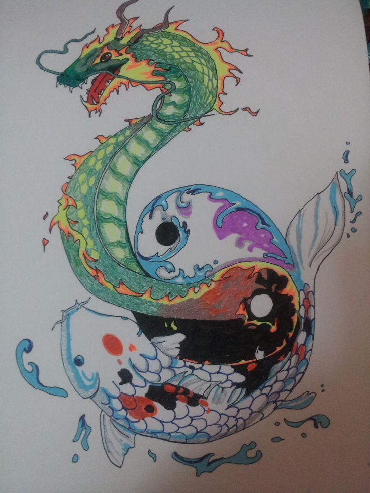Yin yang - Lapiceros de colores