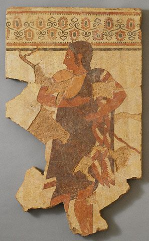 Wall Panel with an Athletic Trainer   Etruscan, 520 - 510 B.C.  Terracotta