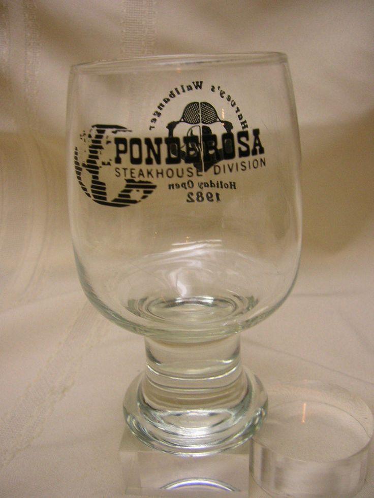 1982 Ponderosa Glass Harvey's Wallbanger Holiday Open Drinking Glasses #Ponderosa