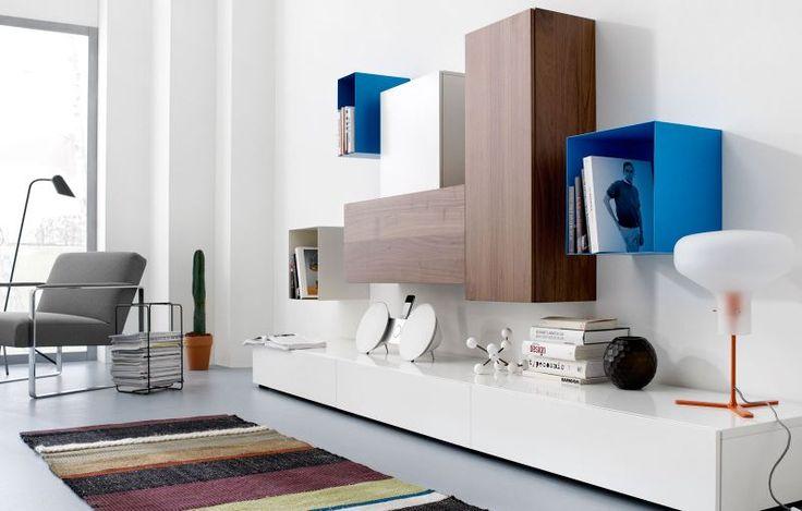 volani wall unit in white lacquer walnut veneer matt. Black Bedroom Furniture Sets. Home Design Ideas