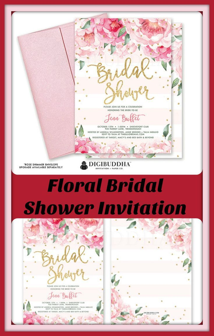 Beautiful bridal shower invitation with blush pink watercolor peony ...