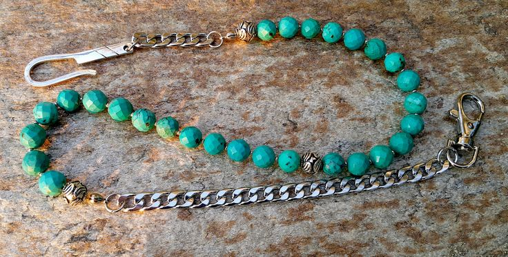 Beaded Wallet Chain, Turquose Wallet Chain, Healing Stones, Blue Gemstone Wallet…