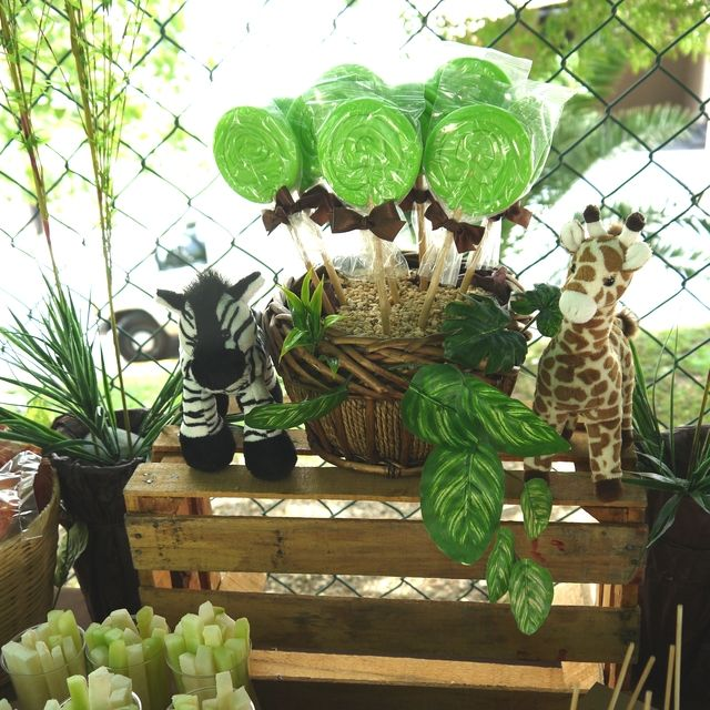 Fun favors at a Jungle birthday party!   See more party ideas at CatchMyParty.com!  #jungle #partyideas