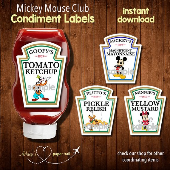 SaLeMICKEY MOUSE CLUBHOUSE Condiment Labels by AshleysPaperTrail