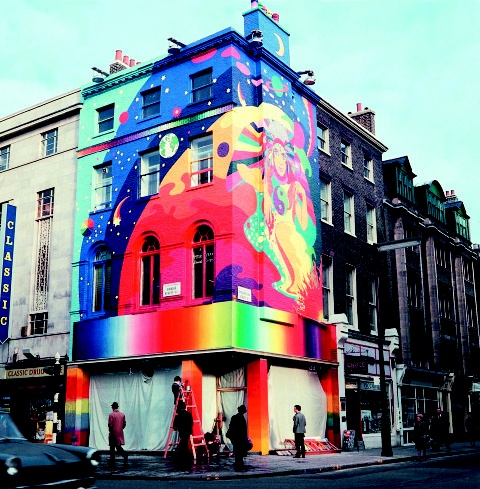 1967. The original Apple Boutique, run by Dutch design group The Fool, who also painted the outside, was on the corner of Paddington Street and Baker Street. Westminster Council immediately made them paint over the psychedelic mural.