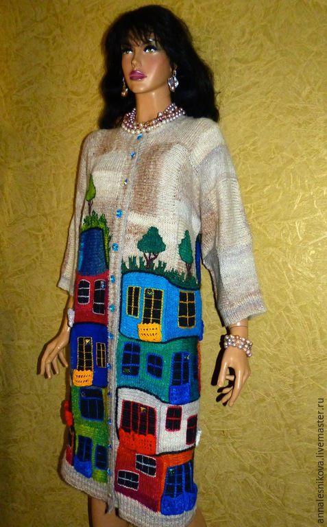 """Купить Пальто """"Хундертвассер в стиле шанель"""" - рисунок, Анна Лесникова, хундертвассер, трикотаж от кутюр"""