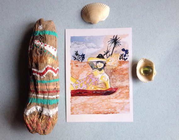 Cartolina illustrazione spiaggia ragazza in costume arte