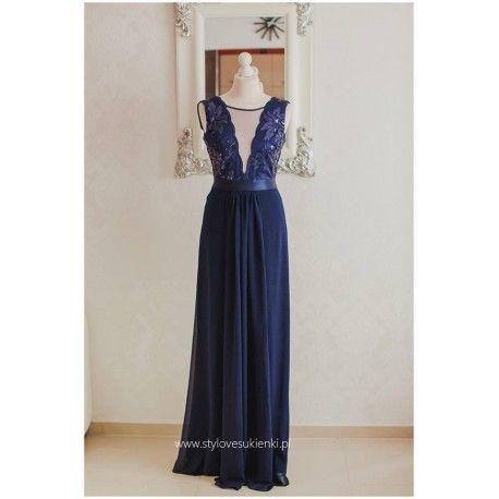 Granatowa szyfonowa sukienka maksi z głębokim dekoltem z cekinami i siateczką