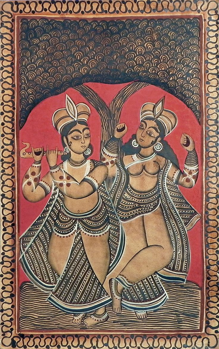 Radha Krishna (Kalighat Painting - Water Color on Paper - Unframed)