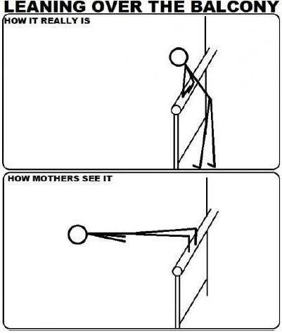 Leaning over the balcony.: Hahahaha Tru, Mom Things, Love You Mom, Balcony How Mothers, Ah Hahahaha, So Funny, Mom Vision, Totally Me, Haha So True