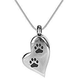 Uniqueen Cremation Jewellery Pet Paw Prints Urn Pendant Dog Bones Necklace - Memorial Ashes Keepsake QYPQU0b3p3