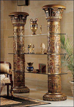 Design Toscano Egyptian Columns Of Luxor Shelves In Faux Stone ,