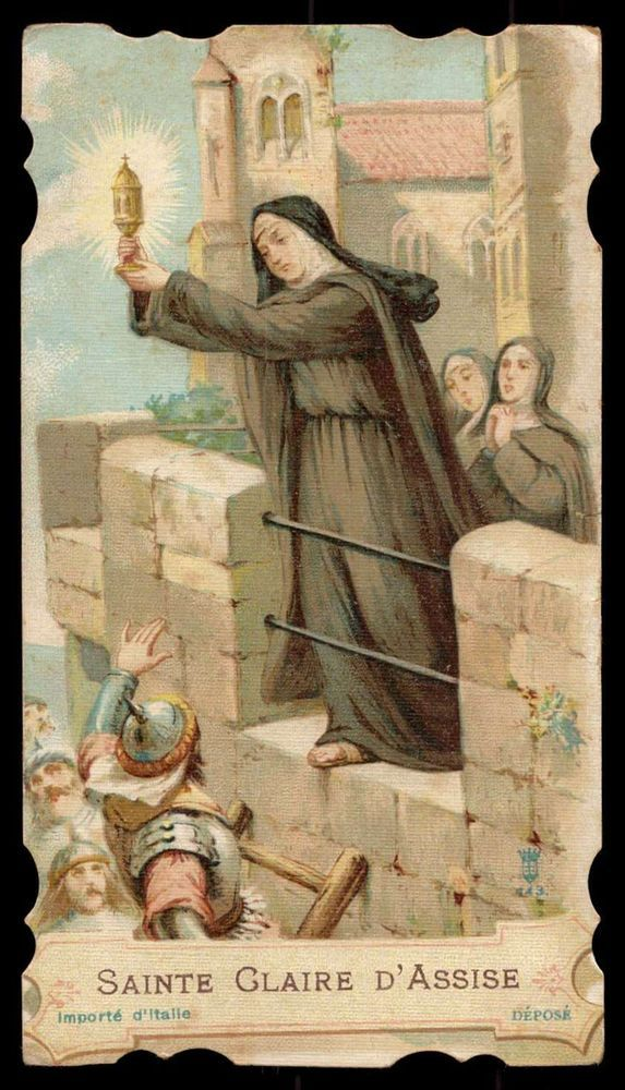 ST CLARE OF ASSISI w/ MONSTRANCE & SISTERS - MOORS ASSAULT Old HOLY CARD