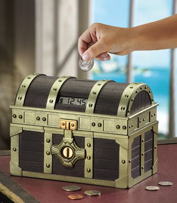Pirate's Treasure Chest Bank - counts the money so child knows how much they're saving!
