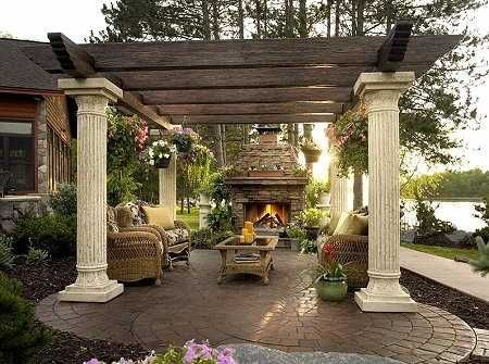 Simply beautiful.....: Outdoorpatio, Idea, Outdoor Rooms, Pergolas, Outdoor Patio, Outdoor Living Spaces, Columns, Outdoor Fireplaces, Outdoor Spaces