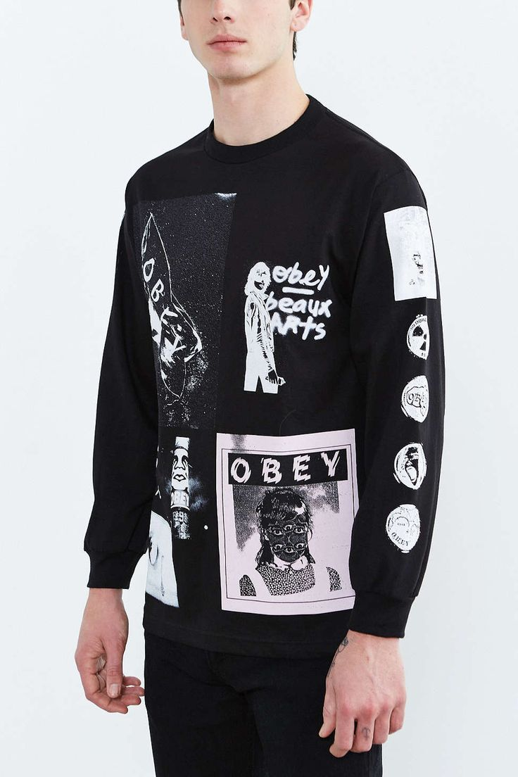 Black t shirt urban outfitters - Obey Punk S Not Dead Tee Urban Outfitterspunkdeadlong Sleeve