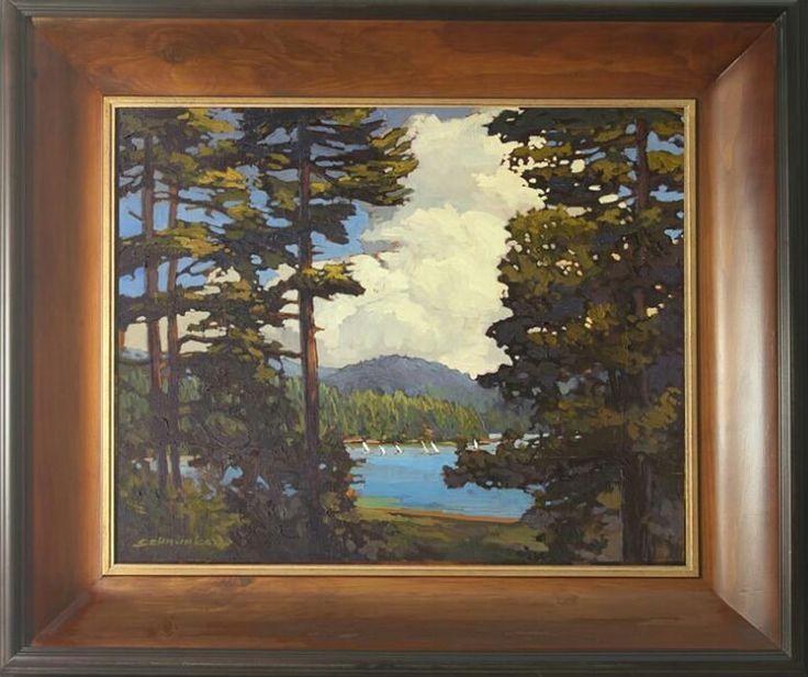 "Jan Schmuckal Tonalist Impressionist Artist - ""Sailboat Race"" - The Lakehouse Collection - Lake Arrowhead - Craftsman Pine Frame - Pines - Bungalow"