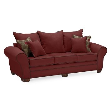 Strauss Wine Upholstery Sofa | Furniture.com $474.99 -this is gray and maroon!