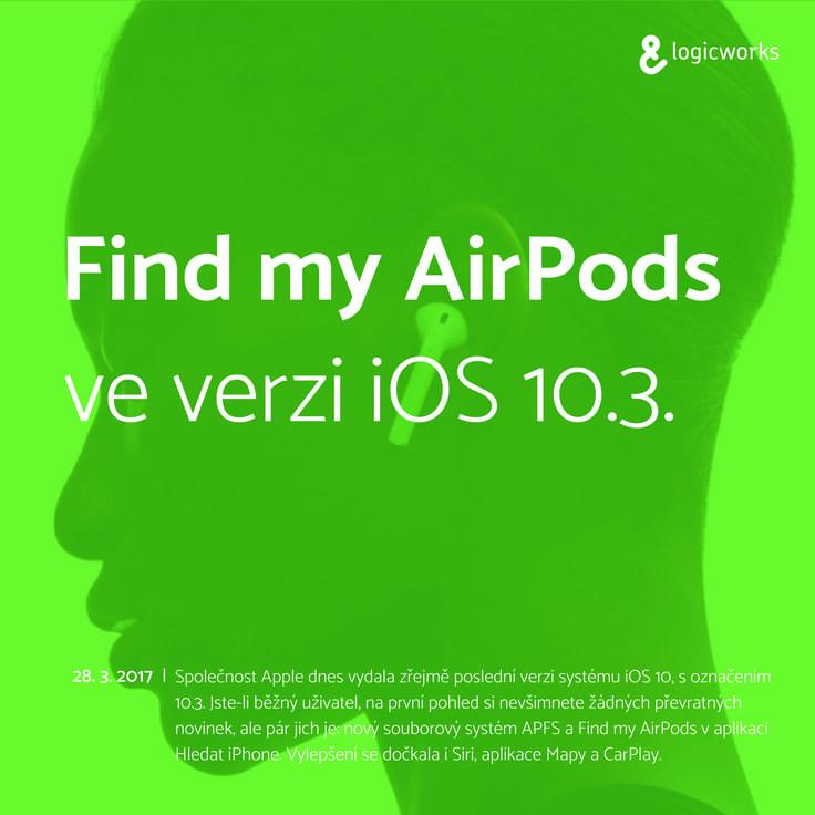 """Jakmile provedete aktualizaci, stačí otevřít aplikaci """"Hledat iPhone"""" a zde uvidíte své AirPody. Lze na nich přehrát zvuk (v případě ztráty), stejně jako u ostatních zařízení. #airpods"""