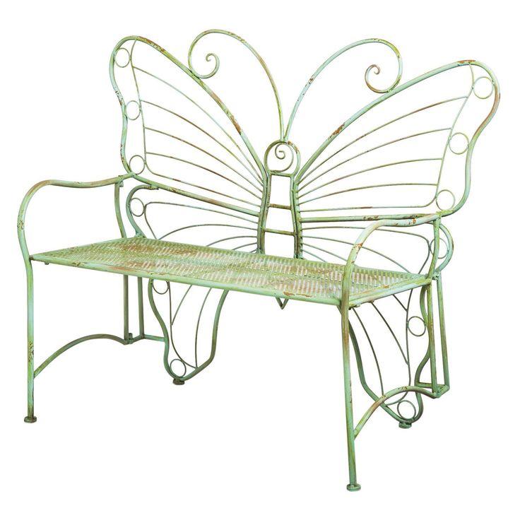 Cape Craftsman Verdi Butterfly 46 in. Metal Outdoor Bench - 8MB017