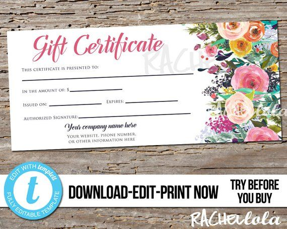 Editable Custom Printable Gift Certificate Template Flowers Photography Voucher Salon Business Mothers Day Instant Download Templett Gift Certificate Template Printable Gift Certificate Printable Gift