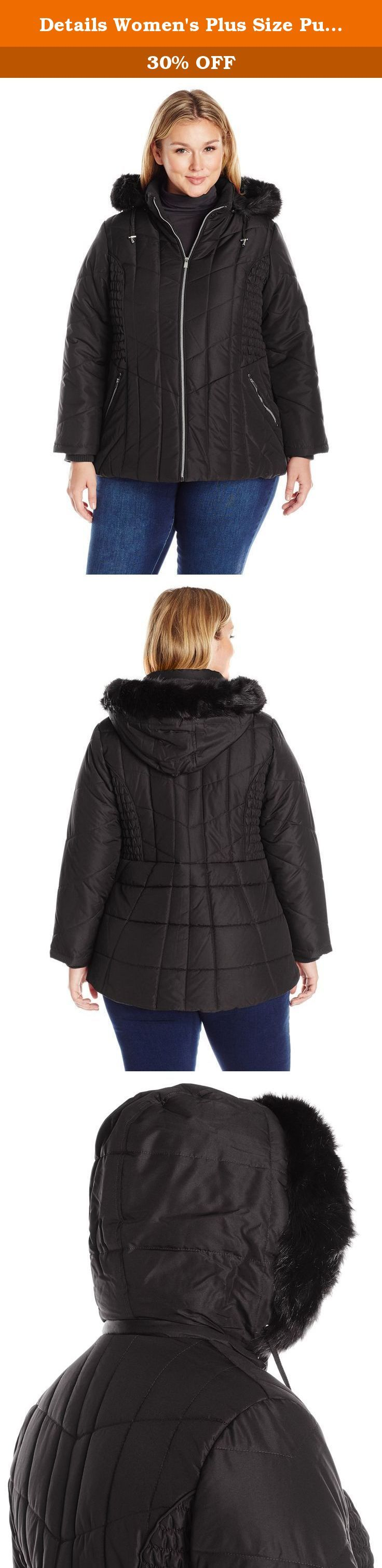 Details Women's Plus Size Puffer Coat with Braided Rouched Side, Black, 2X. This plus size D.Dresst.A.I.L.S. Puffer coat has a soft fabric feel and flattering shape with the braiding and rouching at the sides. Even the way the lines are quilted provides an overall good look to the wearer. Zippers at pockets for added security. 32 inch.