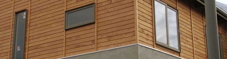 More golden cypress shiplap cladding unweathered