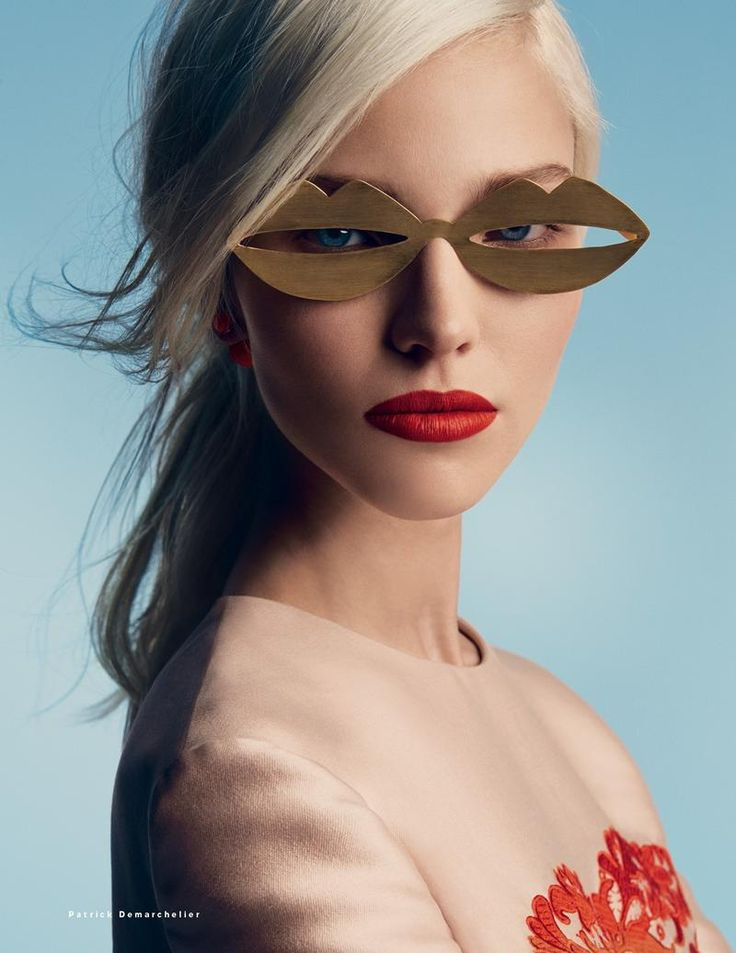 Eyeware: Crazy Lip Glasses ~ Sasha Luss photographed by Patrick Demarchelier for Vogue Russia January 2014