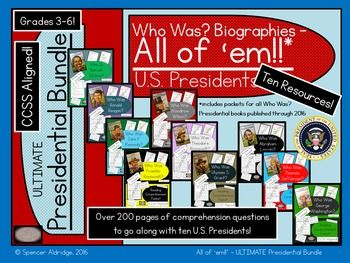 Save $8.00 with this ULTIMATE presidential bundle!! My biggest bundle yet! This is a bundle of ten U.S. Presidents' reading comprehension packets. Each file in the zip is designed to go along with all of the available Who Was? presidents' biographies:Who Was George Washington?Who Was Thomas Jefferson?Who Was Abraham Lincoln?Who Was Ulysses S.