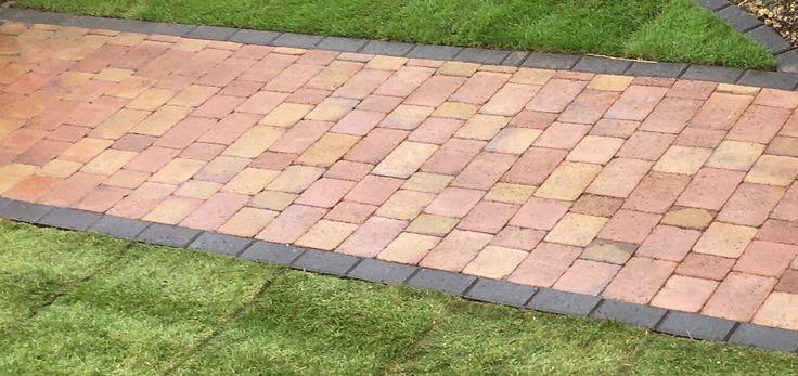 Autumn Brown Block Paver Path