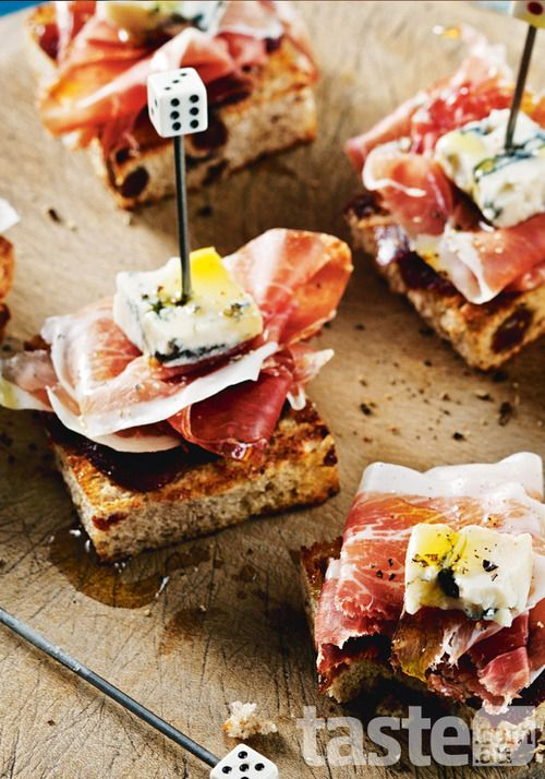 Quince, ham & blue cheese pintxos (pronounced pinchos and coming from the Basque Country of Spain) - (click on the photo to get the recipe)
