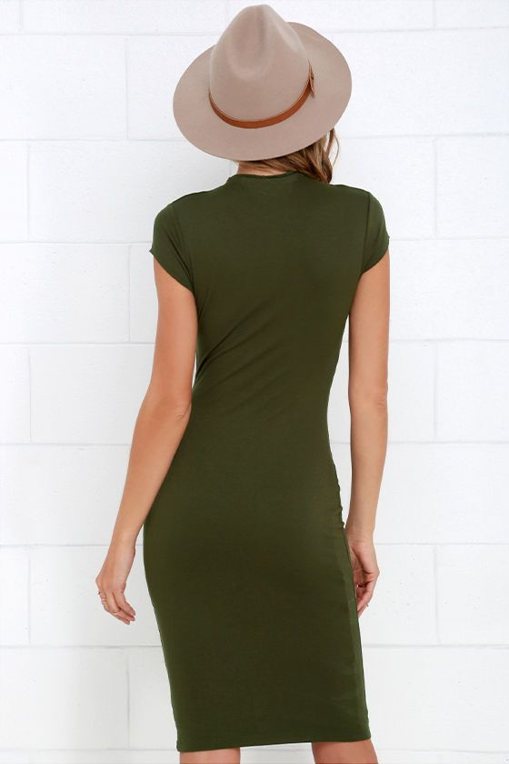 Chic Up Olive Green Bodycon Dress at Lulus.com!